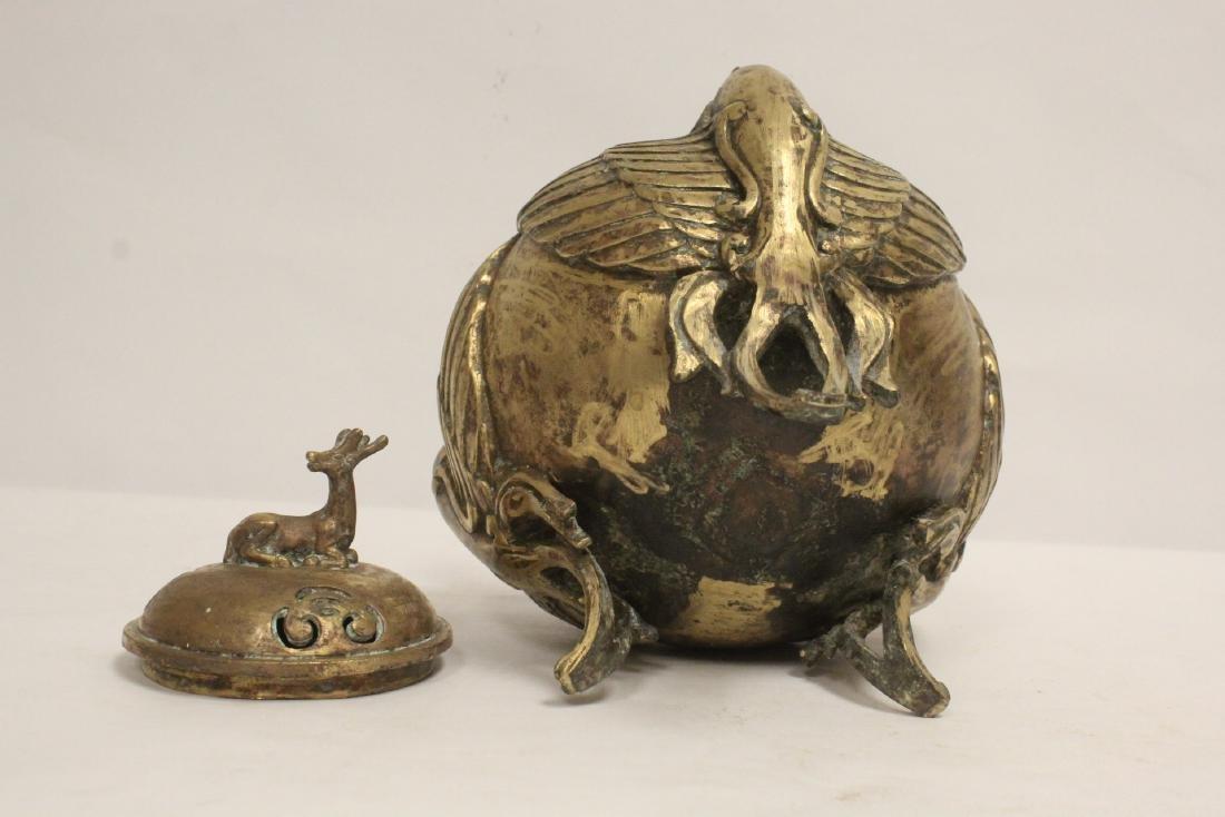 A bronze censer with phoenix motif legs - 10