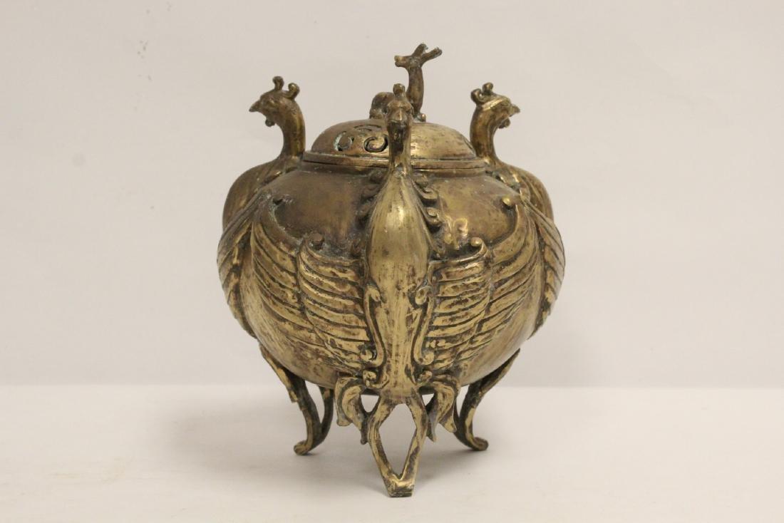A bronze censer with phoenix motif legs - 2