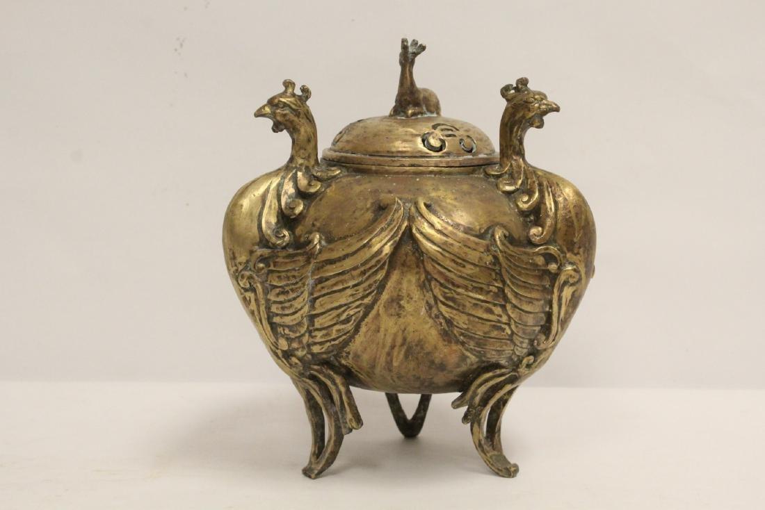 A bronze censer with phoenix motif legs - 3