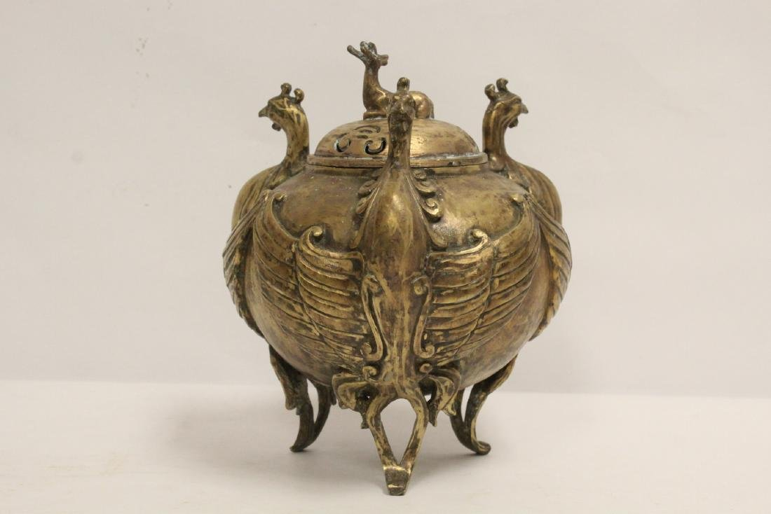 A bronze censer with phoenix motif legs - 4