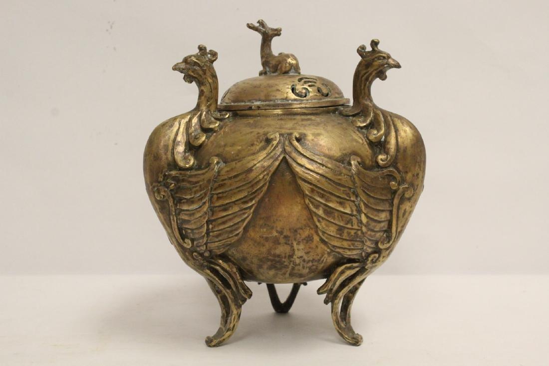 A bronze censer with phoenix motif legs - 5