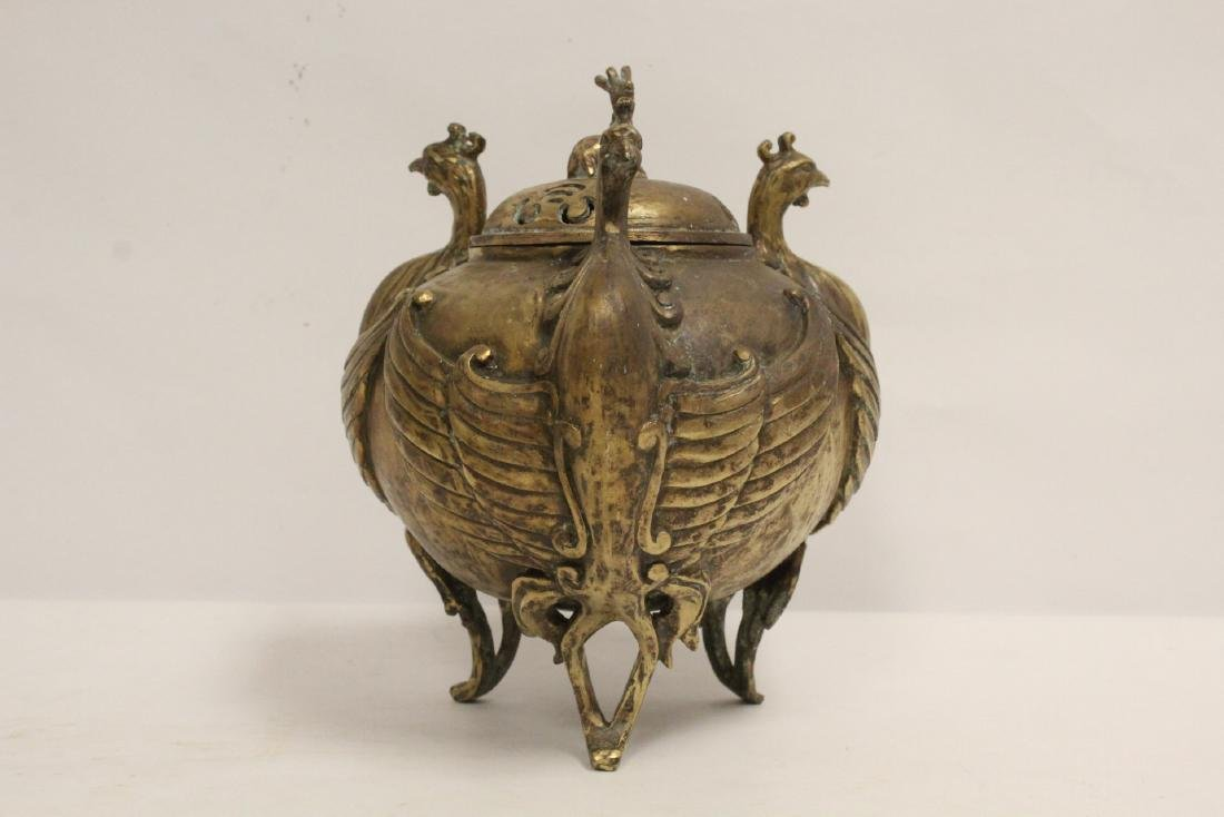 A bronze censer with phoenix motif legs - 6