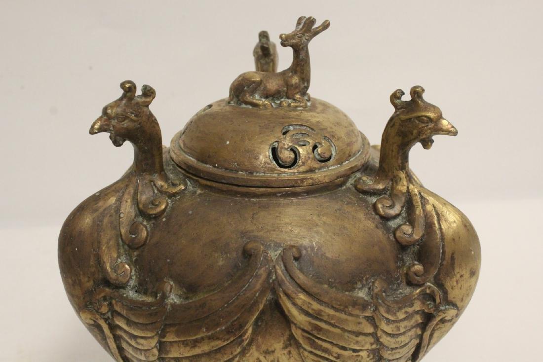 A bronze censer with phoenix motif legs - 9