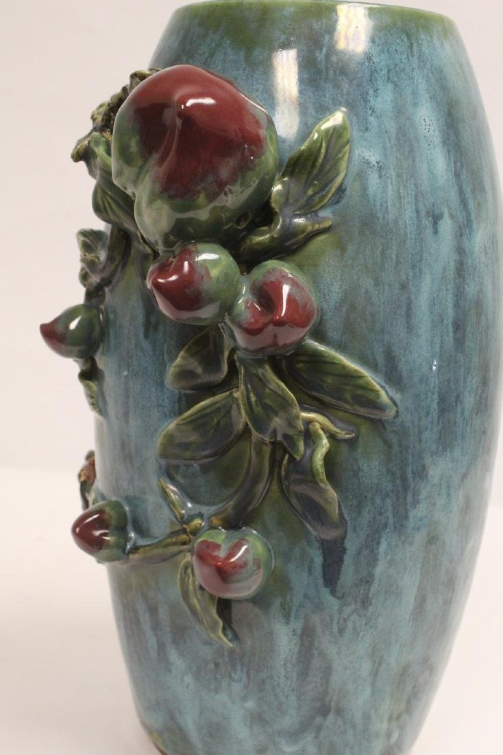 Blue glaze vase decorated with peach in high relief - 10
