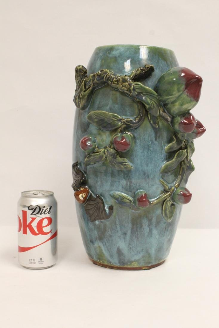 Blue glaze vase decorated with peach in high relief - 2