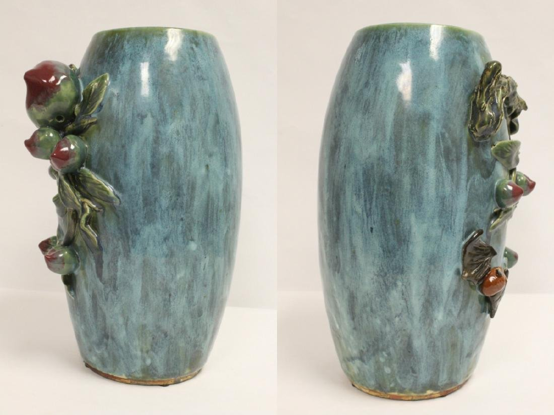 Blue glaze vase decorated with peach in high relief - 3