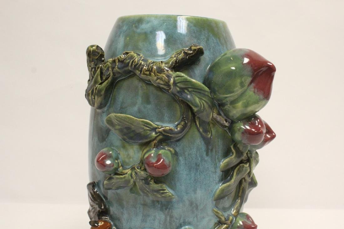 Blue glaze vase decorated with peach in high relief - 6