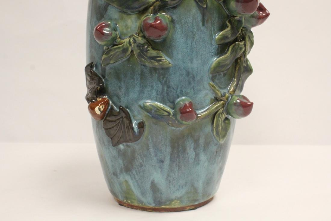 Blue glaze vase decorated with peach in high relief - 7