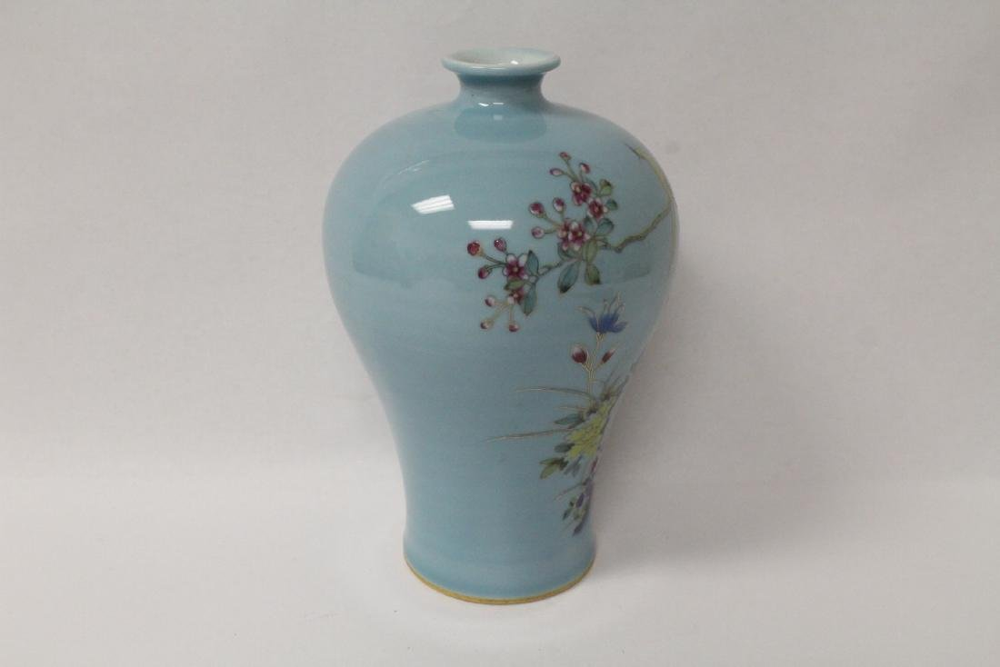 Blue background famille rose porcelain vase - 4