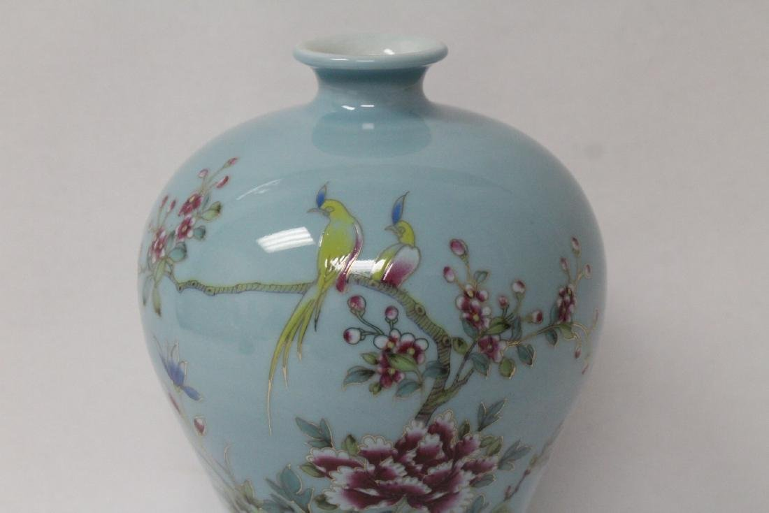Blue background famille rose porcelain vase - 5
