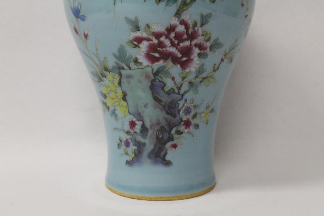 Blue background famille rose porcelain vase - 6