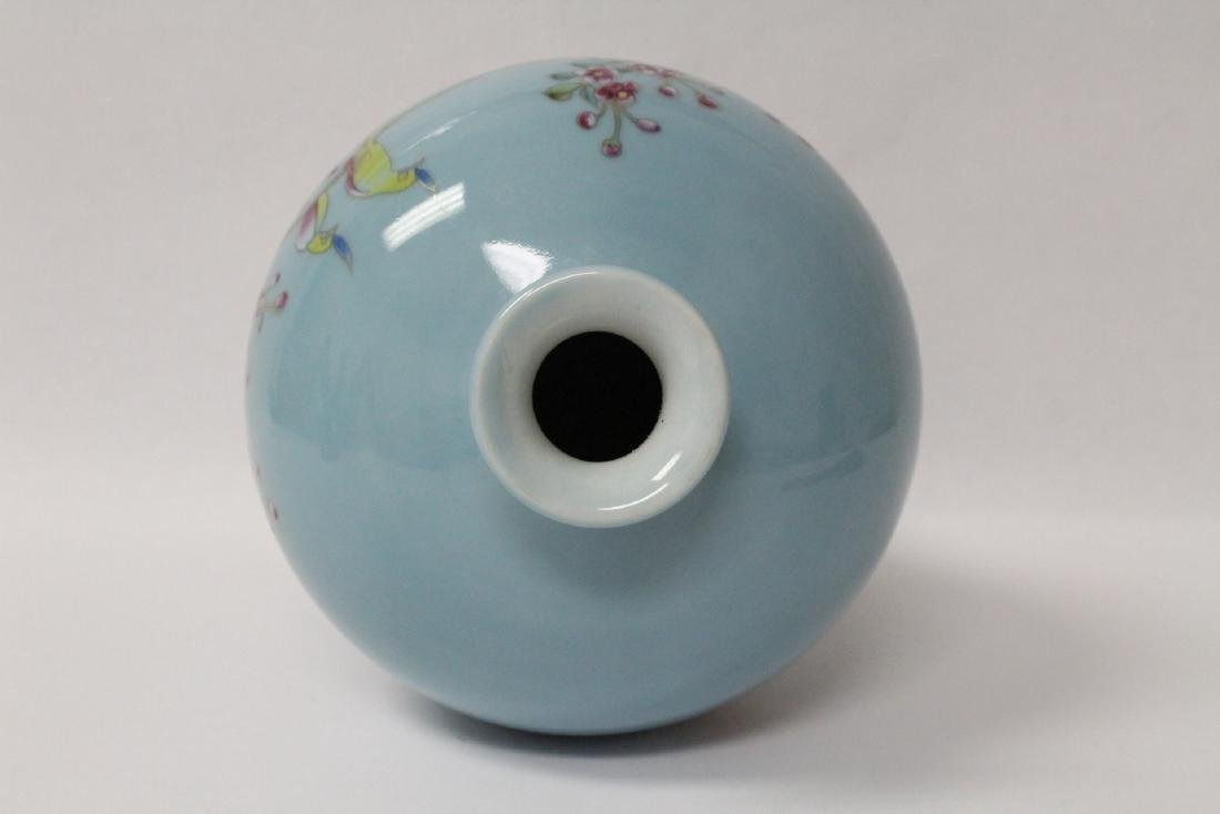 Blue background famille rose porcelain vase - 8