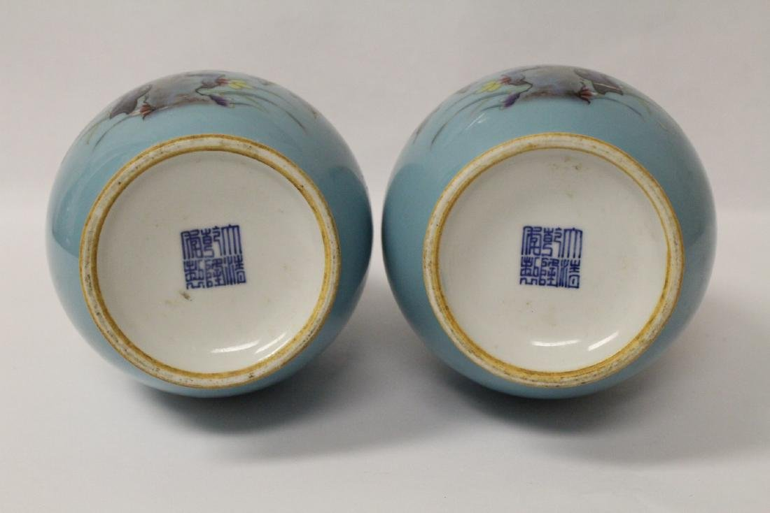 Pair famille rose porcelain vases - 10