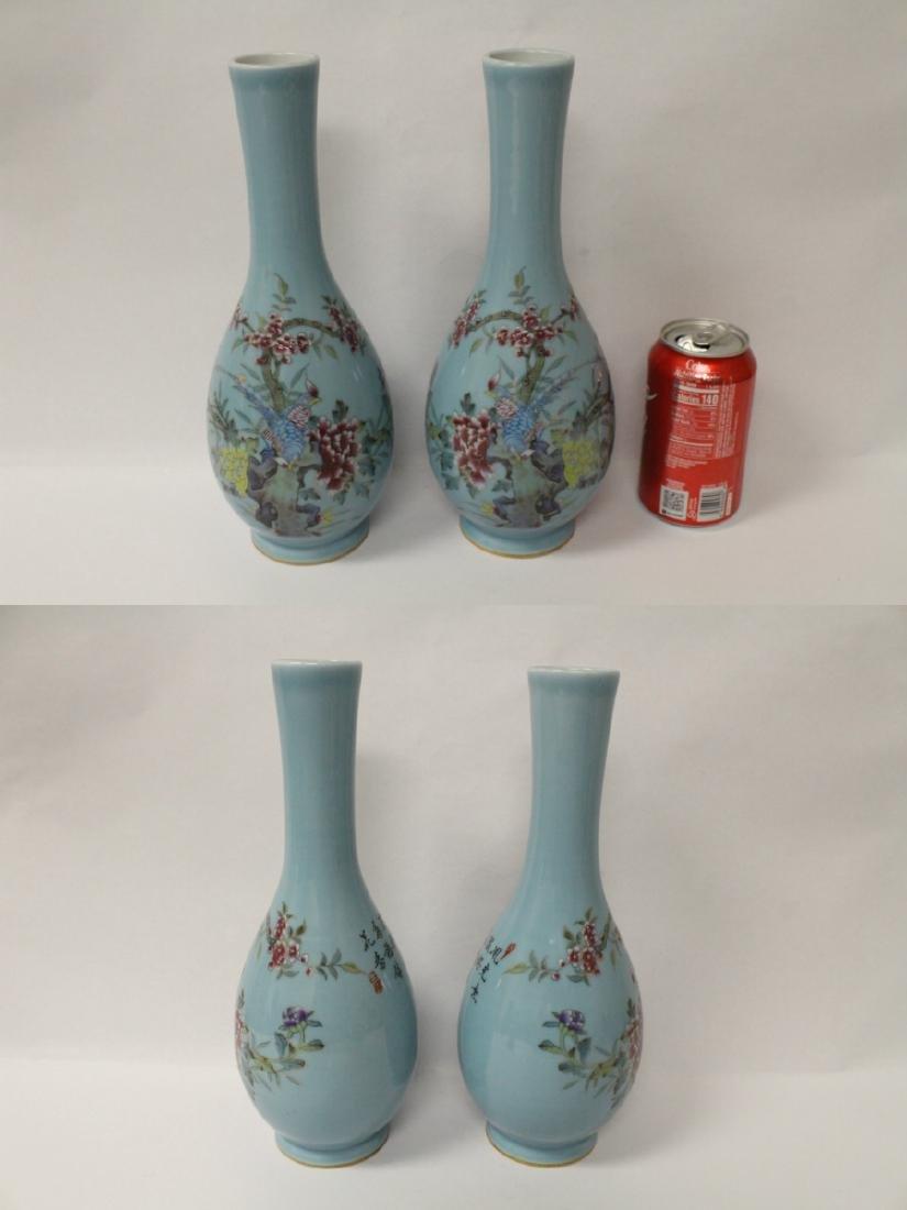 Pair famille rose porcelain vases - 2