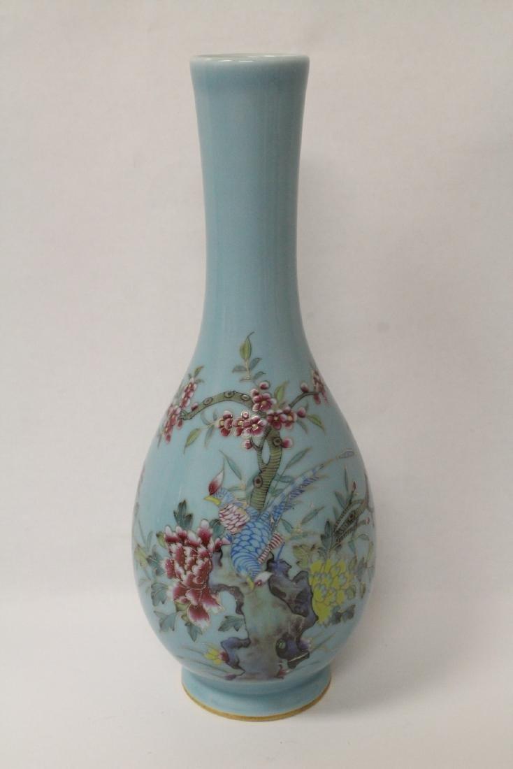 Pair famille rose porcelain vases - 5