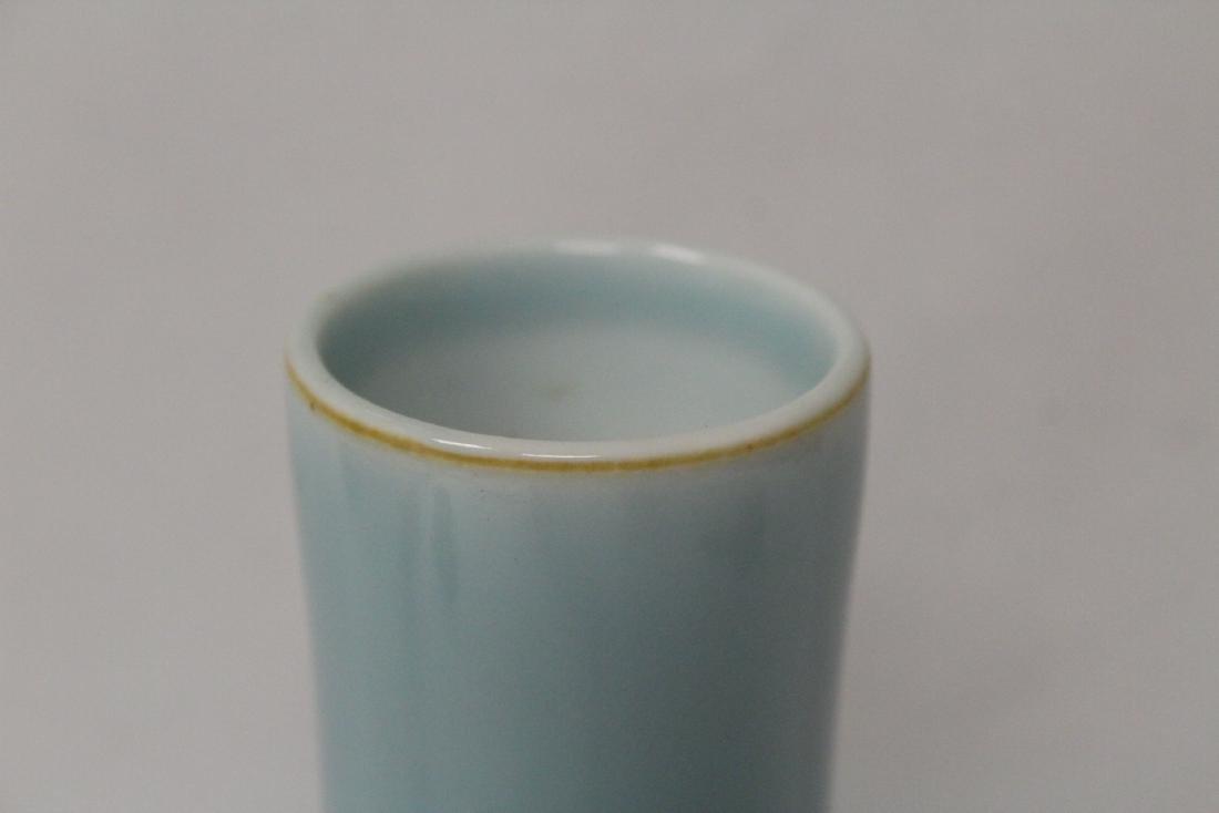 Sky blue porcelain bottle vase - 7