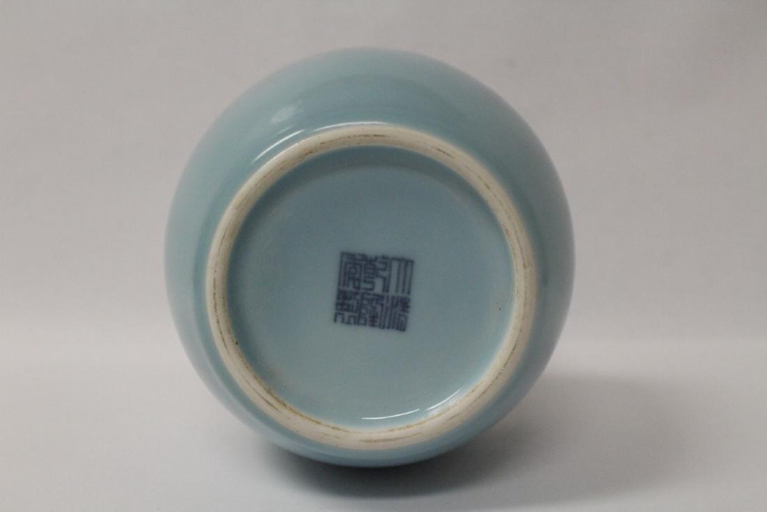 Sky blue porcelain bottle vase - 9