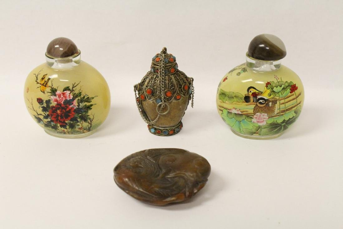 3 snuff bottles and a soap stone carved ornament