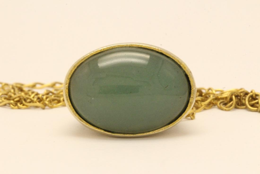 A possible watch fob w/ a large jade cabochon - 2