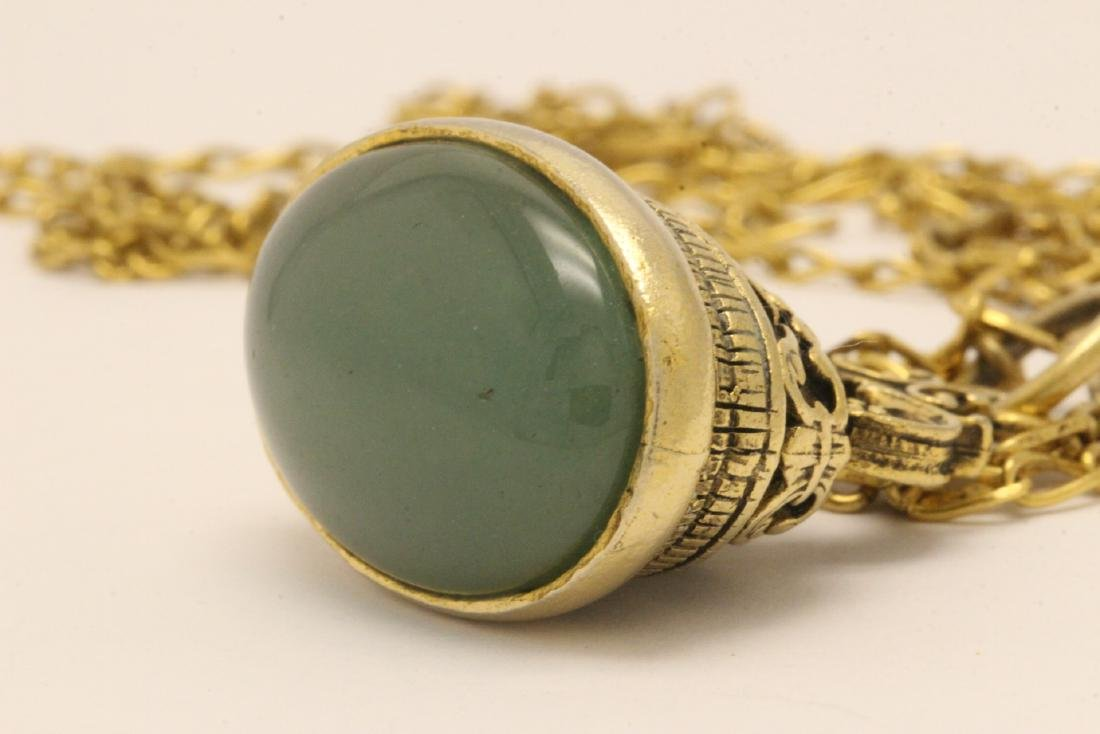 A possible watch fob w/ a large jade cabochon - 4