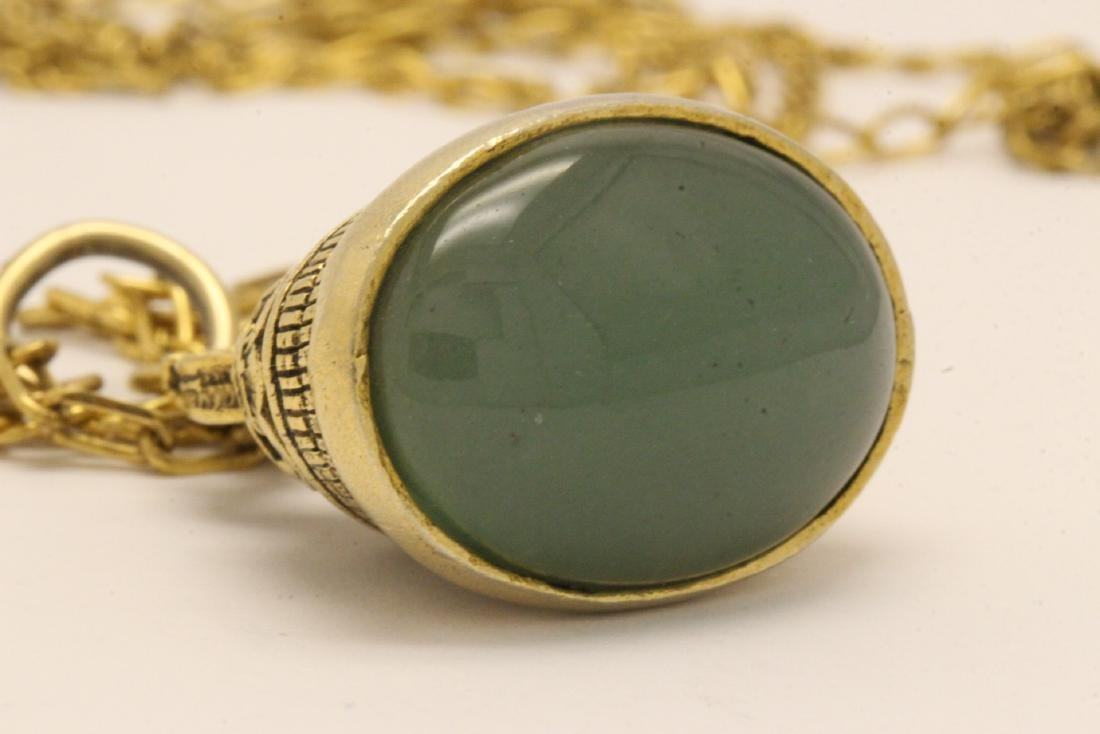 A possible watch fob w/ a large jade cabochon - 5