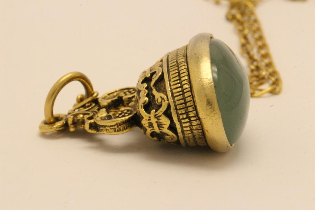 A possible watch fob w/ a large jade cabochon - 7