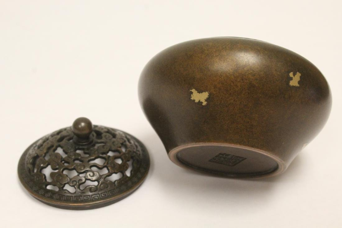 A Chinese very heavy covered censer - 10