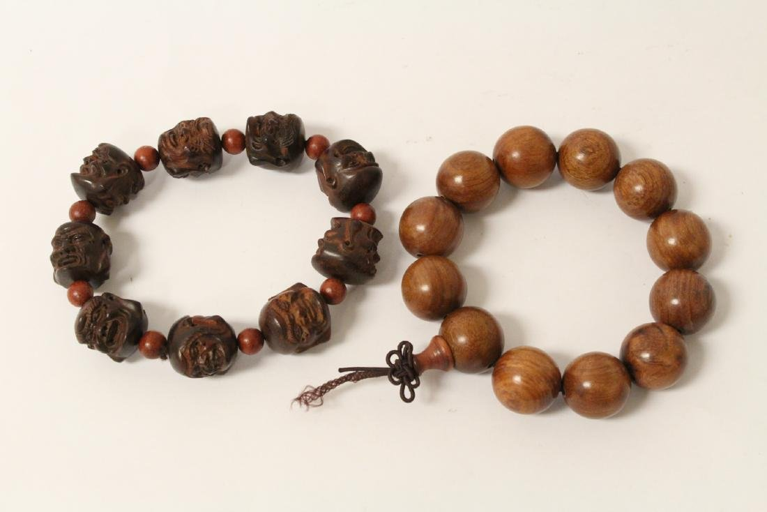 huali wood bracelet & a zitan wood bead bracelet