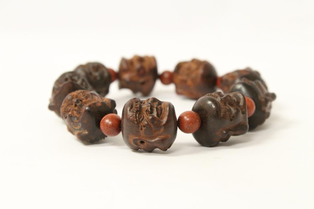 huali wood bracelet & a zitan wood bead bracelet - 6