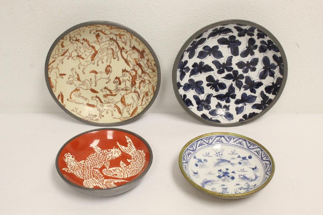 4 porcelain plate with pewter under-plate