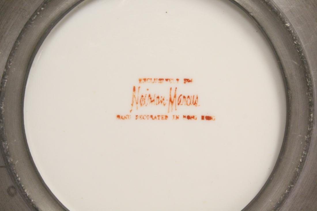 4 porcelain plate with pewter under-plate - 4