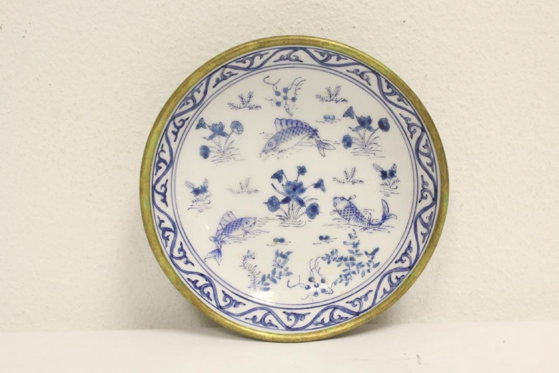 4 porcelain plate with pewter under-plate - 5