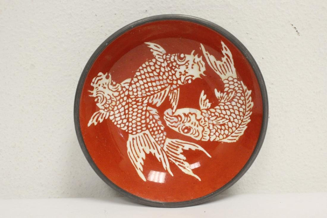4 porcelain plate with pewter under-plate - 9