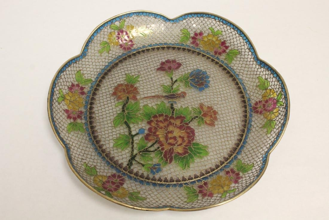 Chinese clear cloisonne plate - 10