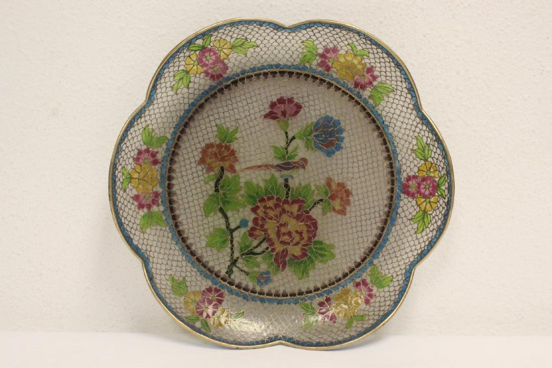 Chinese clear cloisonne plate