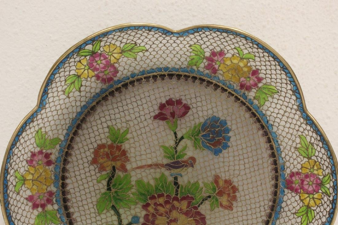 Chinese clear cloisonne plate - 2