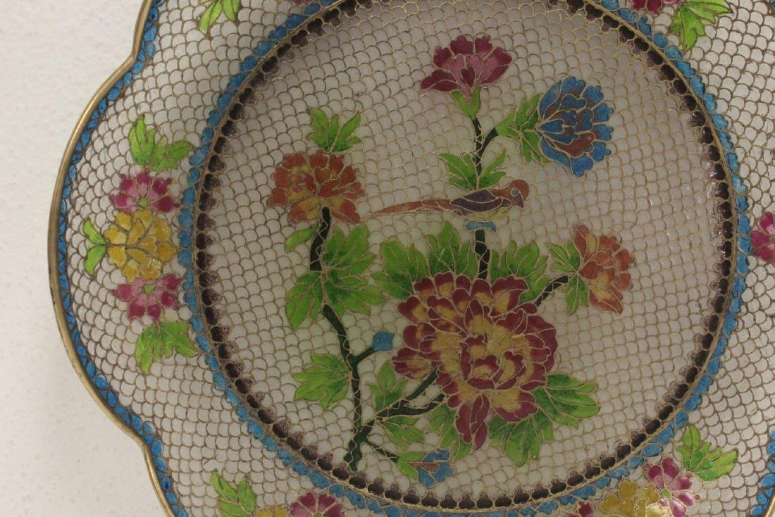Chinese clear cloisonne plate - 3