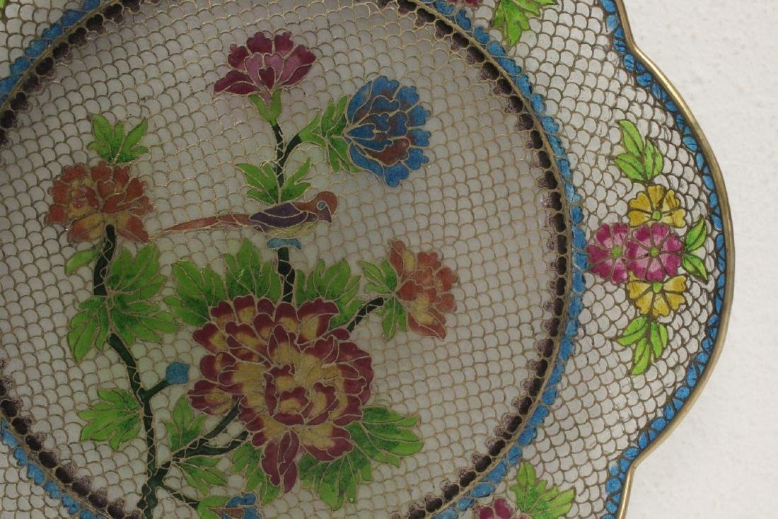 Chinese clear cloisonne plate - 4