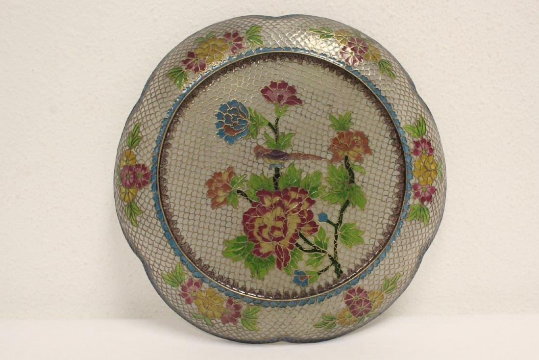 Chinese clear cloisonne plate - 7