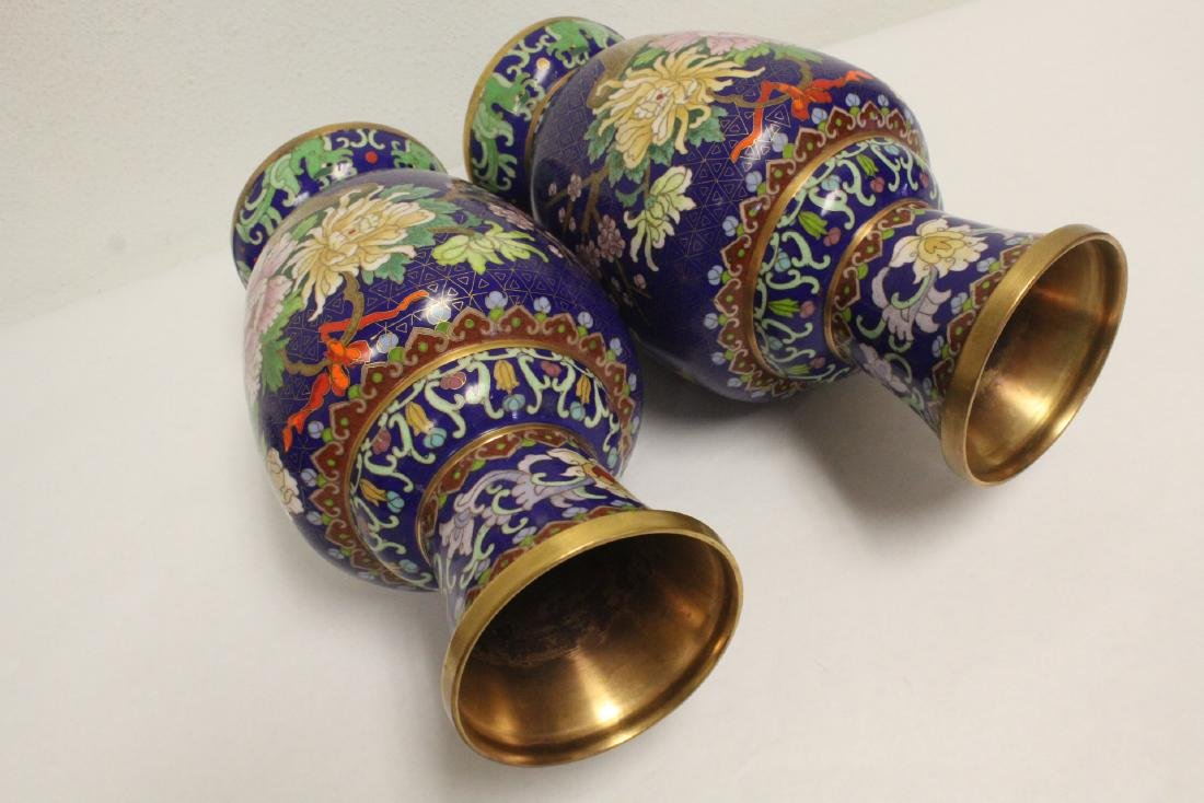 Pair cloisonne vases with stand - 10