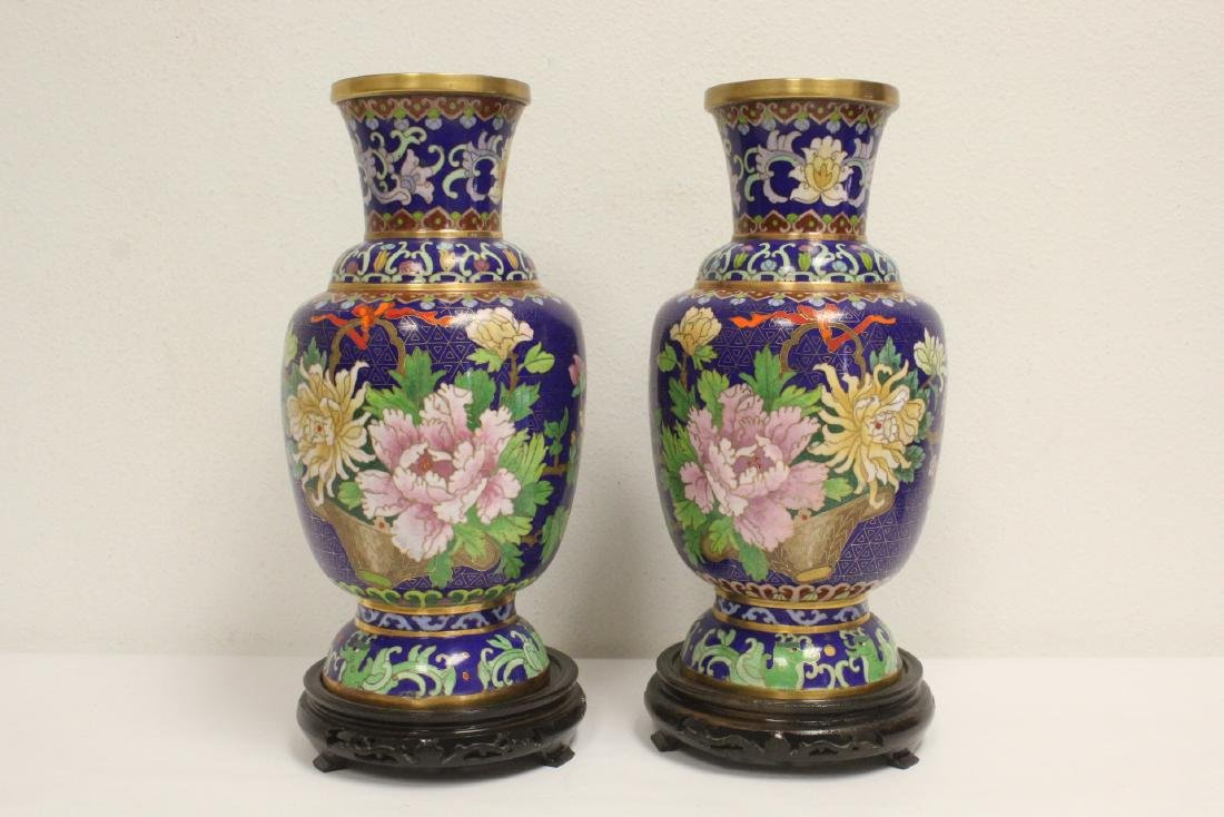 Pair cloisonne vases with stand