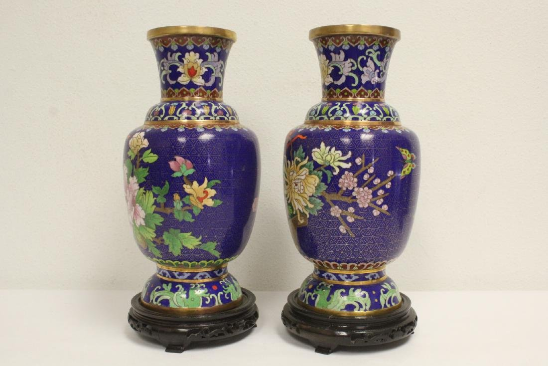 Pair cloisonne vases with stand - 2