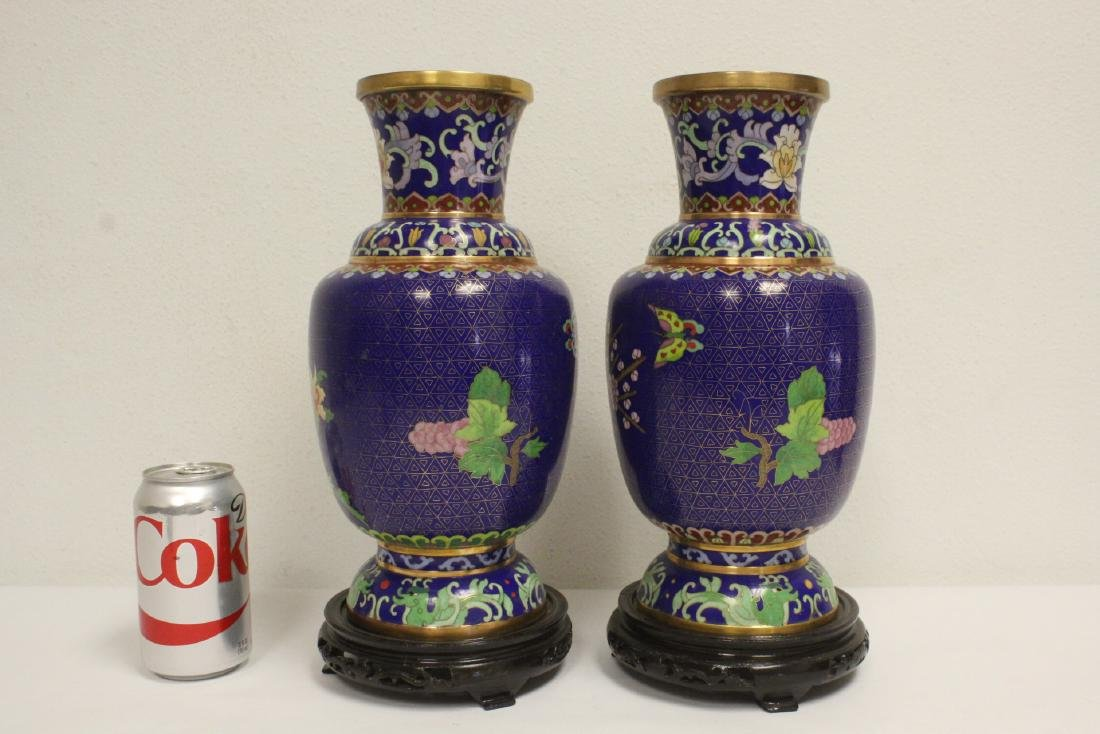 Pair cloisonne vases with stand - 3