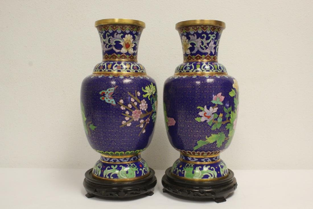 Pair cloisonne vases with stand - 4