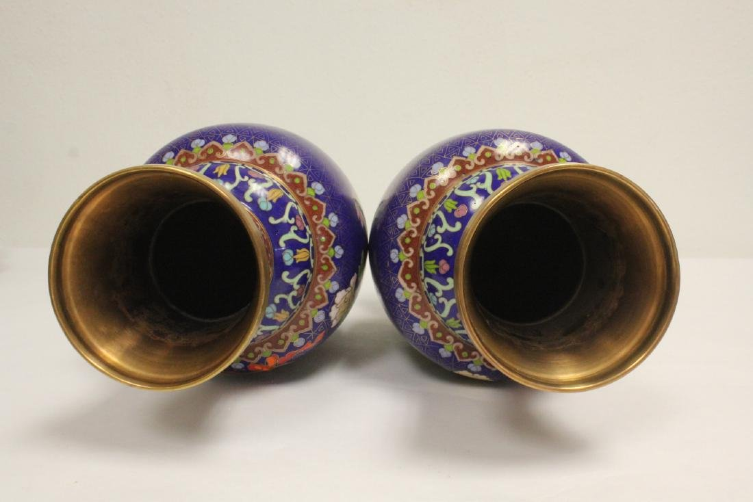Pair cloisonne vases with stand - 5
