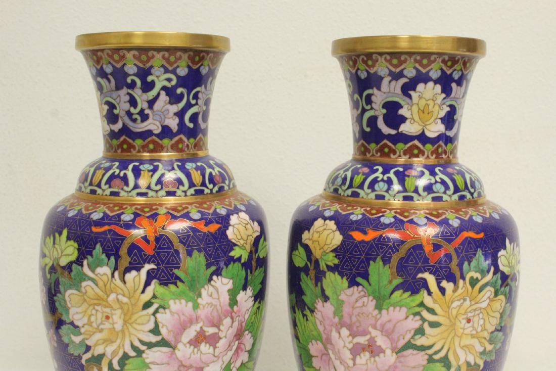 Pair cloisonne vases with stand - 6
