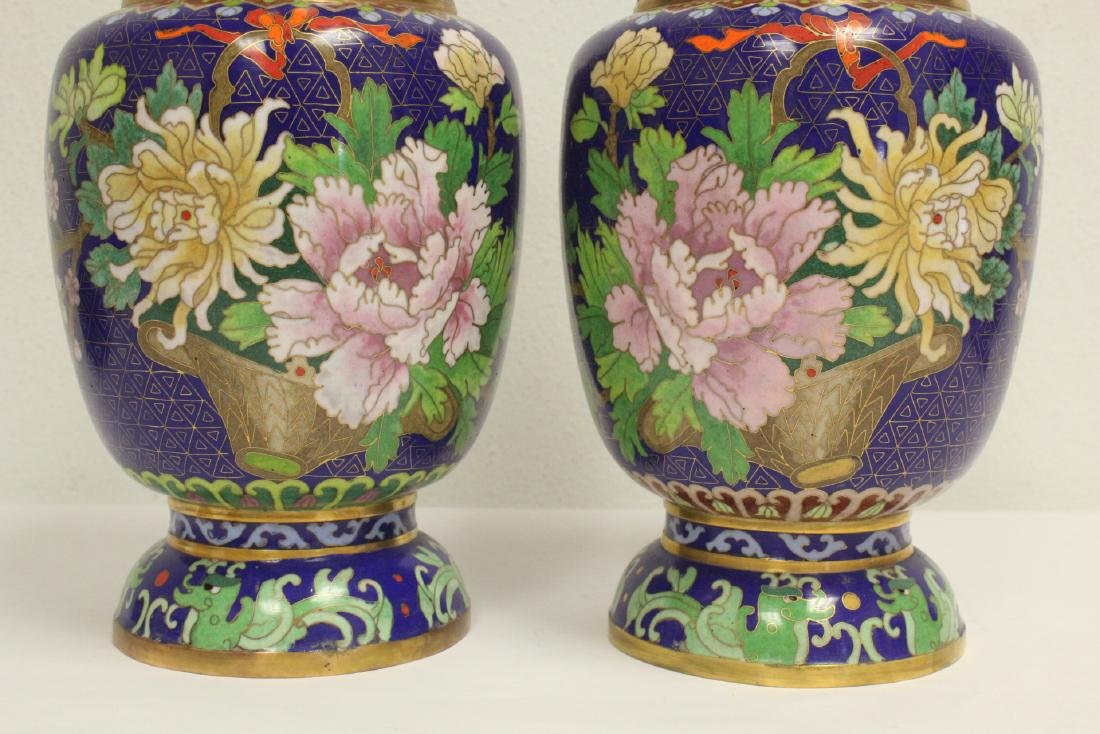 Pair cloisonne vases with stand - 7