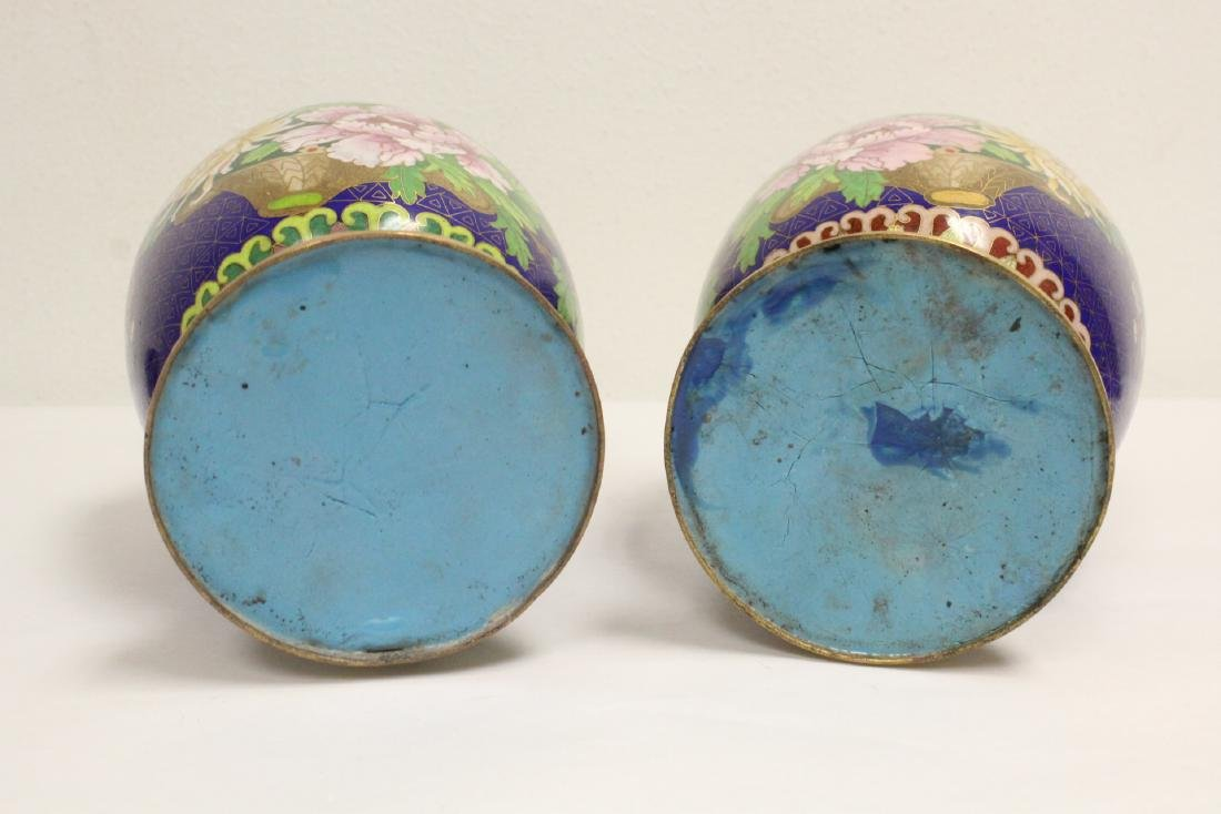 Pair cloisonne vases with stand - 8