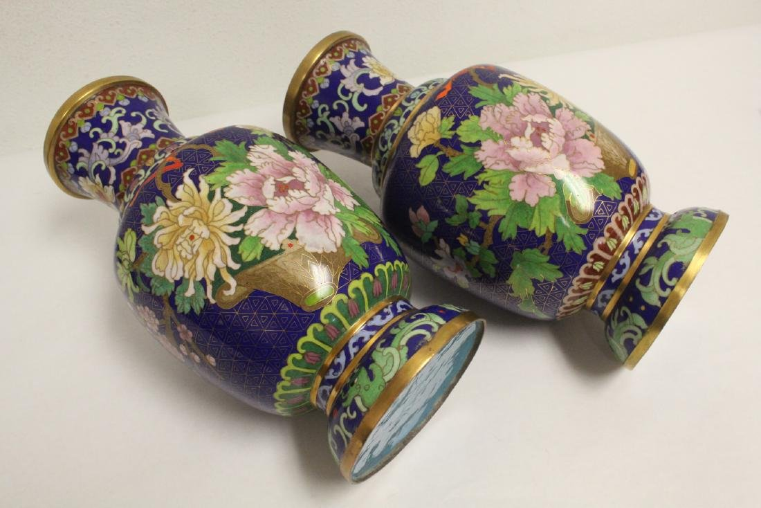 Pair cloisonne vases with stand - 9