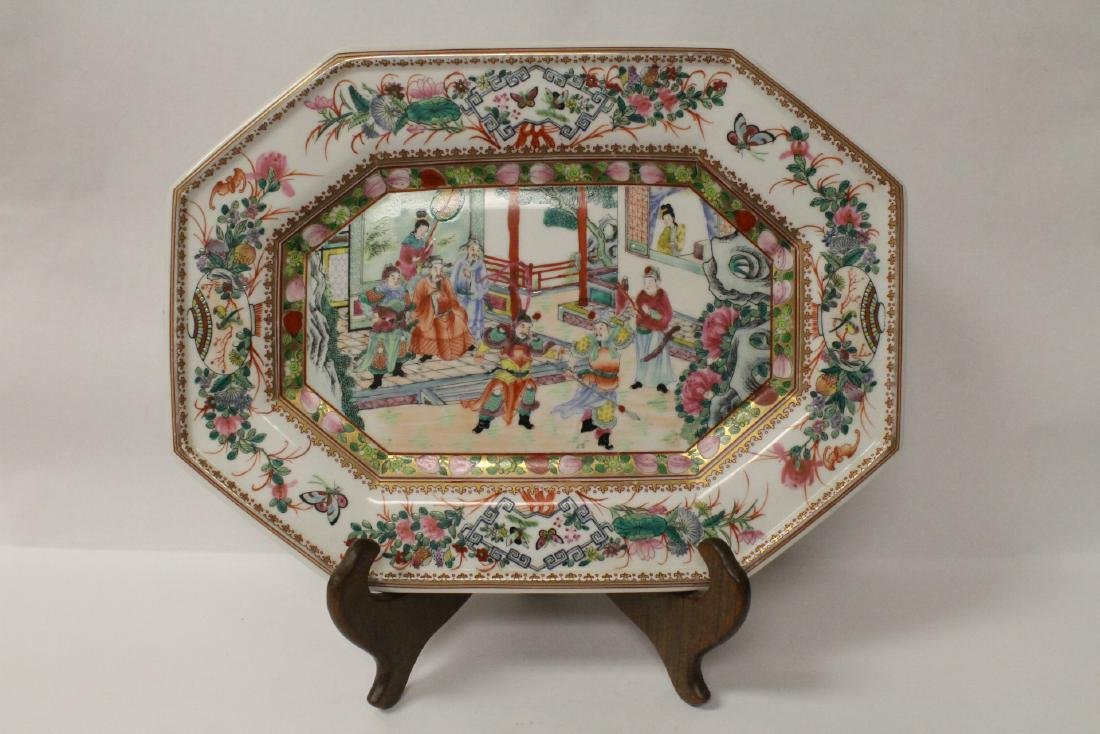 Chinese rose canton plate